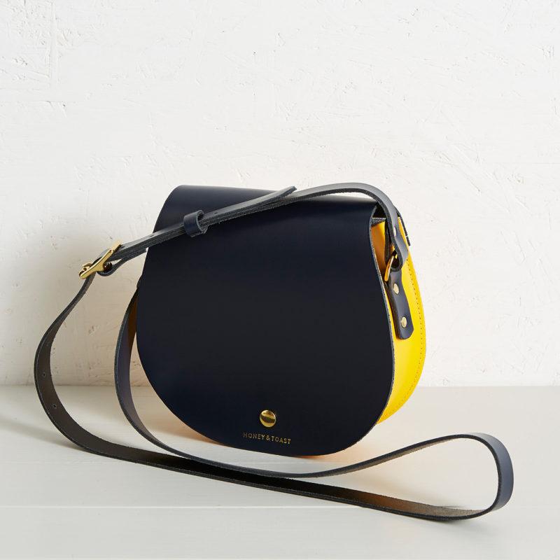 Etter saddlebag navy blue and sun yellow