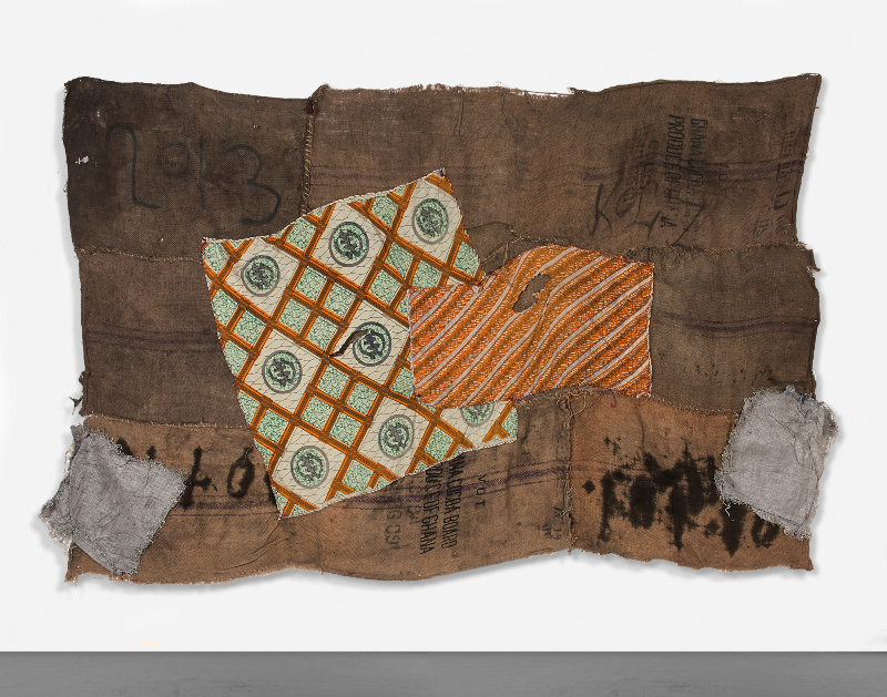 Ibrahim Mahama Untitled 2014 Coal sack 183 x 213 cm Courtesy Private Collection, London ©Private Collection, London