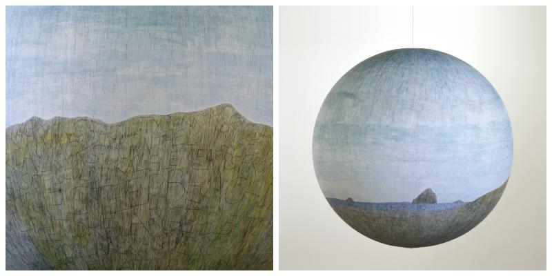 Russel Crotty The cape, 2010 Encre de stylo bille et aquarelle sur papier posé sur globe en fibre de verre 91,44 x 91,44 cm (36 x 36 in.) Courtesy de l'artiste et Galerie Suzanne Tarasieve, Paris Tous droits réservés